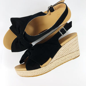 [UGG] Camilla Suede Bow Espadrille Wedges NEW